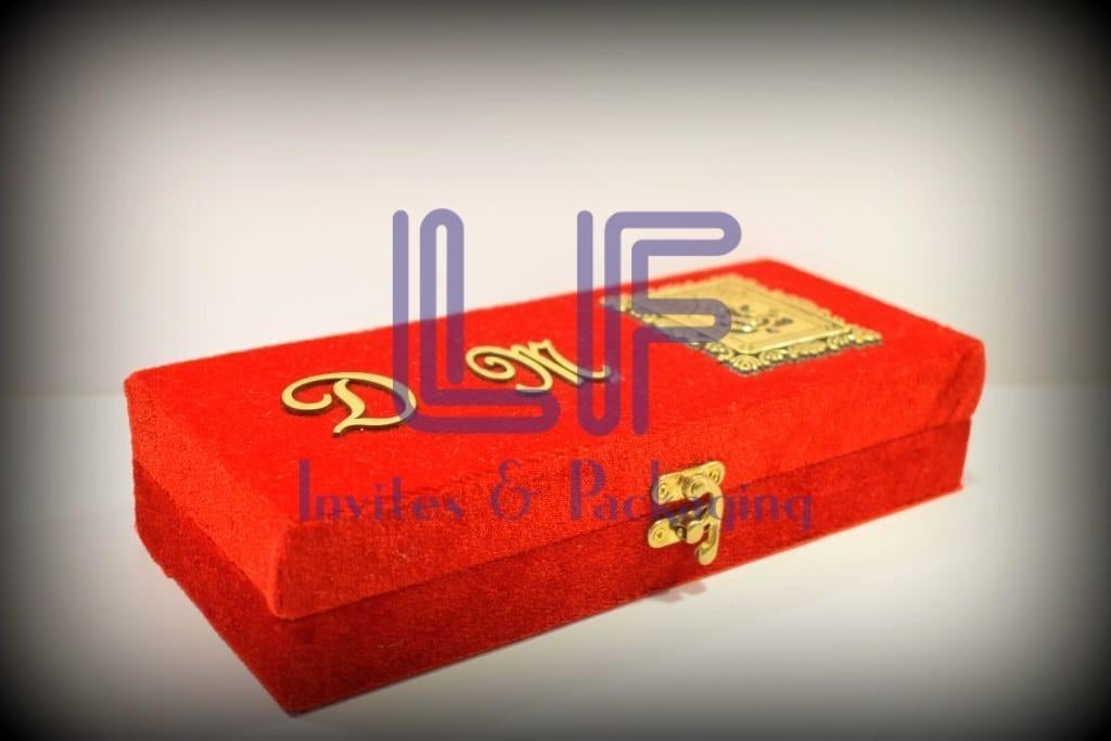 red velvet wooden box