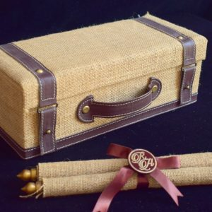wedding invitation card & box crafted in jute