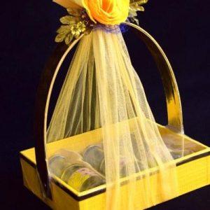 Silk wedding invitation hamper basket