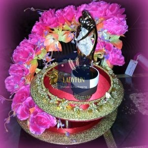 floral ring platter with statue